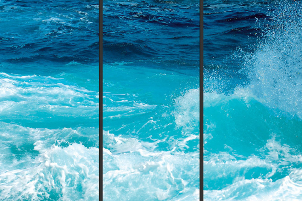Waves_03 - Triptych on plexi